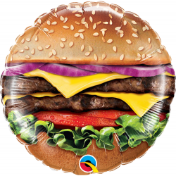 "9"" Cheeseburger Air Fill Microfoil Balloon, Qualatex 58453"