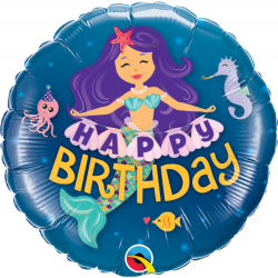 "9"" Happy Birthday Mermaid Air Fill Microfoil Balloon, Qualatex 58437"