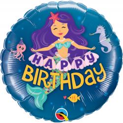 Balon Mini Folie Happy Birthday Mermaid, 23 cm, Qualatex 58437