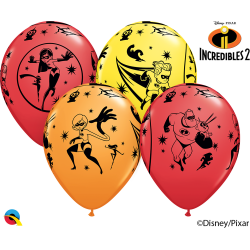 12'' The Incredibles 2 Latex Balloons, Qualatex 84635, Pack of 6 pieces