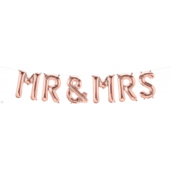 Pachet baloane folie Mr. & Mrs. rose gold - 41 cm, 58820