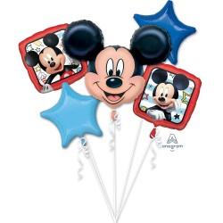 Buchet Baloane Mickey Mouse Happy Birthday, Amscan 18659, set 5 bucati