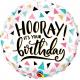 Balon Folie 45 cm Birthday Hooray!, Qualatex 88076