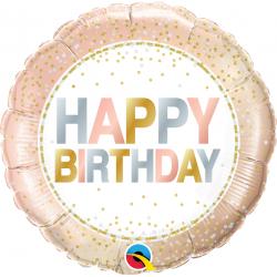 "18"" Birthday Metallic Dots Round Foil Balloon, Qualatex 78686"