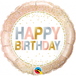 Balon Folie 45 cm Birthday Metallic Dots, Qualatex 78686