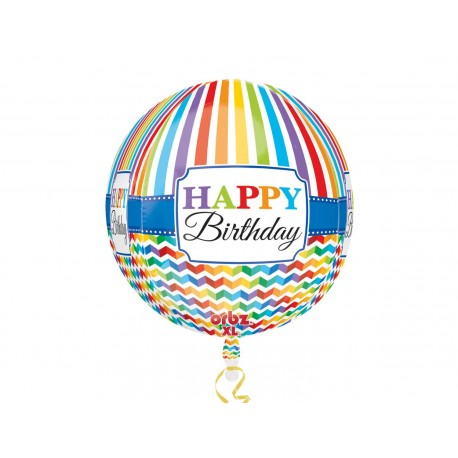 Balon Folie Sfera Orbz Happy Birthday, 38 x 40 cm, 30677