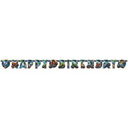 Banner decorativ pentru petrecere - 182 x 15 cm, Happy Birthday cu Blaze, 9901359, 1 buc