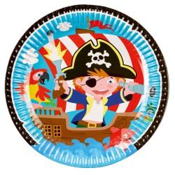 Farfurii carton cu Pirati pentru petrecere copii - 23 cm, 9902120, Set 8 buc