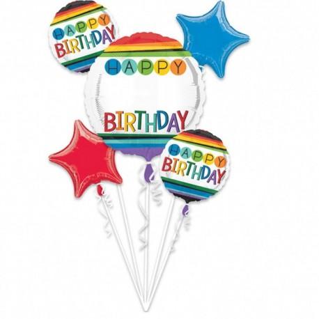 Buchet Baloane Happy Birthday Multicolor Cu Personalizare, 34428, set 5 bucati