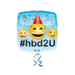 Balon folie 45 cm Emoticon Happy Birthday, 33617