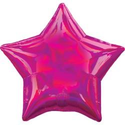 Balon folie 45 cm stea Holografic Irizat Magenta, 39267