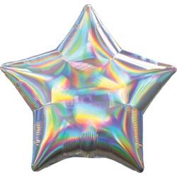 Balon folie 45 cm stea Holografic Irizat Argintiu, 39270