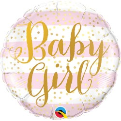 Baby Girl Pink Stripes Mini Foil Balloon - 9'', Qualatex 88497
