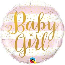 Balon Mini Folie Baby Girl Pink Stripes -23 cm, Qualatex 88497