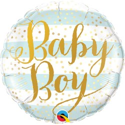Baby Boy Blue Stripes Mini Foil Balloon - 9'', Qualatex 88489