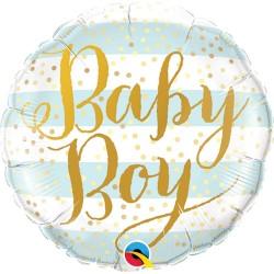 Balon Mini Folie Baby Boy Blue Stripes -23 cm, Qualatex 88489