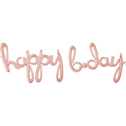Pachet litere Happy B-Day script - rose gold, 41 cm, 39157