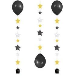 Panglica decorativa - Ballon Tails - cu stelute, pentru baloane cu heliu, 100 cm, Radar 9902240, 3 buc/set