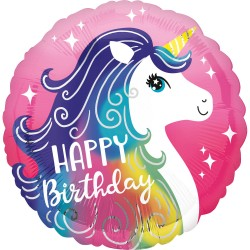 Balon folie 45 cm Happy Birthday Unicorn, Radar 39628