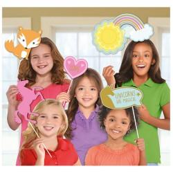 Photo Booth Kit Magical Unicorn Paper / Plastic, 49.5 x 35.5 cm, Radar 399830, 12 pcs