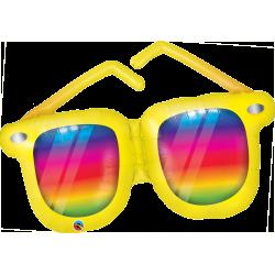 Rainbow Striped Sunglasses Shaped Foil Balloon, 107 cm, Qualatex 82650