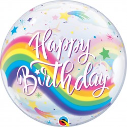 "Balon Bubble 22""/56 cm Birthday Rainbow Unicorns, Qualatex 87744"