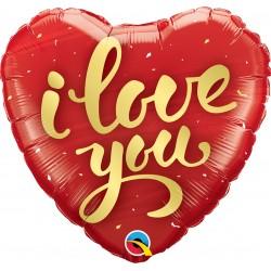 """Heart Foil Balloon Love You - 18""""/45cm, Qualatex 78541"""