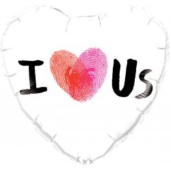 """Heart Foil Balloon I Love Us - 18""""/45cm, Qualatex 78543"""