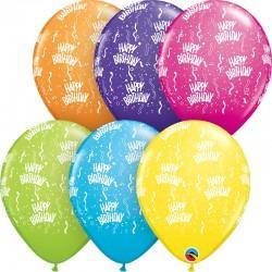 "Latex Baloons 11""/28 cm Birthday-A-Round, Tropical,  Qualatex 57184"