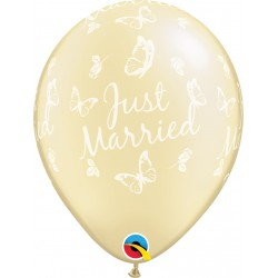 "Baloane latex 11"" inscriptionate Just Married, Butterflies-A-Round Pearl Ivory, Qualatex 31559"