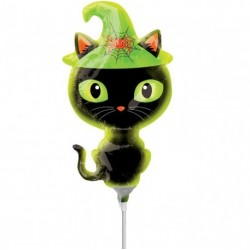"Black Kitty Mini Foil Balloon - 14""/36cm, A37025"