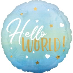 Balon folie inscriptionat Hello World! Blue - 45 cm, Radar 39730