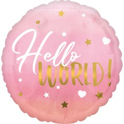 Balon folie inscriptionat Hello World! Pink - 45 cm, Radar 39724