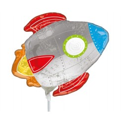 "Roket Mini Shape Foil Balloon - 14""/36 cm, on stick, Radar 38490"