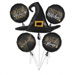 """Bouquet """"Witch Silhouette"""" Foil Balloons, 38087, pack of 5 pieces"""