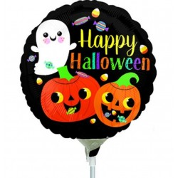 "9"" Happy Ghost & Pumpkins Air Fill Microfoil Balloon, Radar 38162"