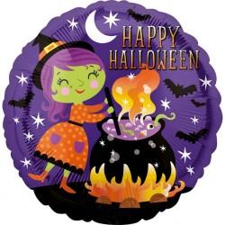 Balon folie inscriptionat Happy Halloween Witch - 45 cm, Radar 38144