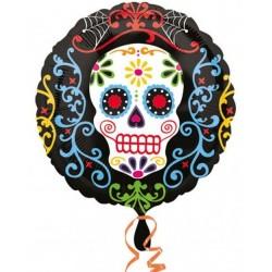"18"" Halloween Daoy Of The Dead Round Foil Balloon, Radar 29939"