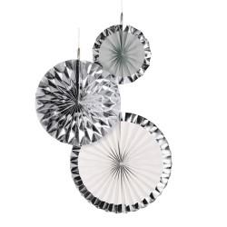 Decoratiuni argintii in forma de rozeta evantai, 18/30/38 cm, Radar 9904627, set 3 buc