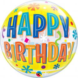 "Balon Bubble 22""/56 cm Happy Birthday Fun, Qualatex 16657"