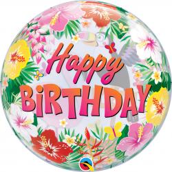 "Balon Bubble 22""/56 cm Happy Birthday Tropical, Qualatex 87740"