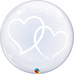 "Entwined Hearts Deco Bubble Balloon - 24""/61 cm, Qualatex 84696, 1 piece"