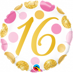"""18"""" 16 years, Pink & Gold Dots, Round Foil Balloon, Qualatex 88172"""