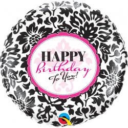 "18"" Happy Birthday Damask Round Foil Balloon, Qualatex 30986"