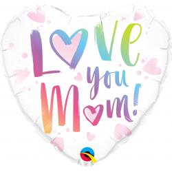 Balon Folie 45 cm Inima Love You Mum, Qualatex 82256
