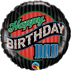 "18"" Happy Birthday Dad Round Foil Balloon, Qualatex 25576"