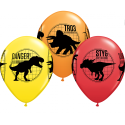 "11"" Jurassic World Printed Latex Balloons, Qualatex 80790, Pack of 25 Pieces"