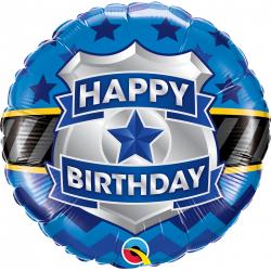 "18"" Happy Birthday Badge Round Foil Balloon, Qualatex 85909"