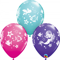 "11"" Printed Latex Balloons, Merry Mermaid & Friends Assorted, Qualatex 58381"