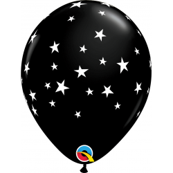 "11"" Onyx Black Contempo Stars Printed Latex Balloons, Qualatex 92722, pack of 25 pcs"